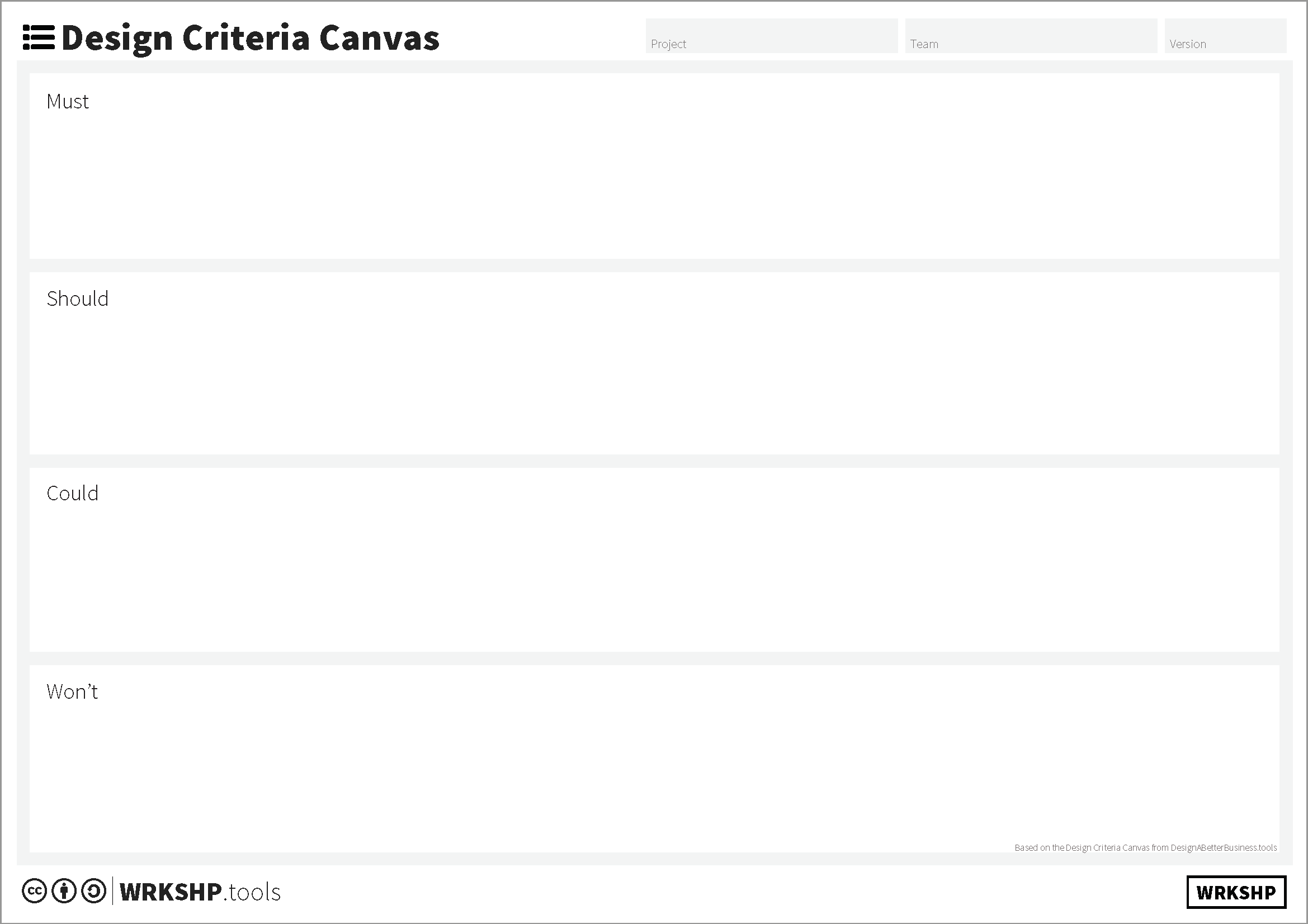 Design Criteria Canvas